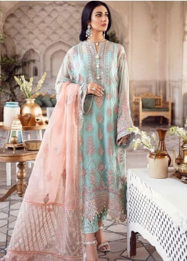 Shehnai by Afrozeh Embroidered Chiffon Unstitched 3 Piece Suit AF20WF 05 Ta-Azeed - Wedding Collection