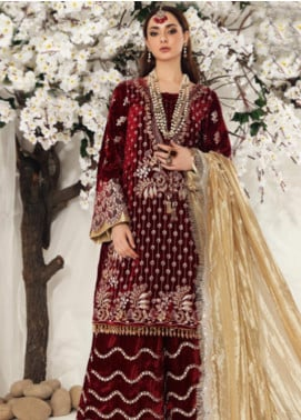 Shiza Hassan Embroidered Velvet Unstitched 3 Piece Suit SH19F CRIMSON CRUSH - Luxury Collection