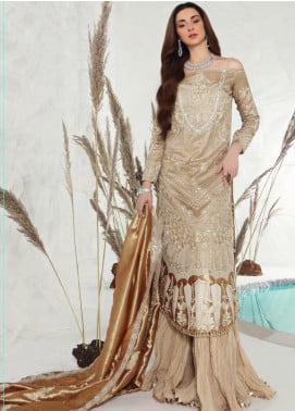 Shiza Hassan Embroidered Zari Net Unstitched 3 Piece Suit SH19F GOLD DUST - Luxury Collection