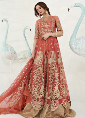 Shiza Hassan Embroidered Zari Net Unstitched 3 Piece Suit SH19F SORBET - Luxury Collection