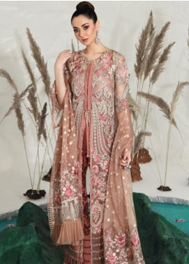 Shiza Hassan Embroidered Zari Net Unstitched 3 Piece Suit SH19F WILD ROSE - Luxury Collection