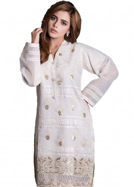 Sheqe Embroidered  Stitched Kurtis SHQ18K C-027 OFF WHITE