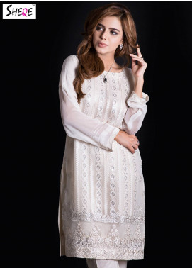 Sheqe Embroidered  Stitched Kurtis SHQ18K C-028 OFF WHITE