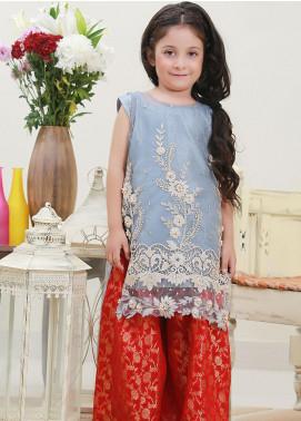 Sidra Mumtaz Net Fancy Girls 3 Piece Suit -  SILVERISTIC
