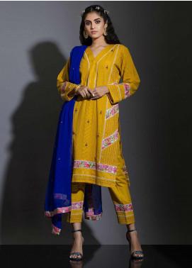 Sidra Mumtaz Embroidered Schiffli Stitched 3 Piece Suit SANOBER