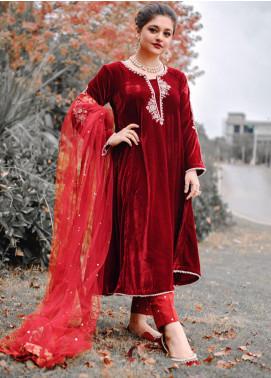 Sidra Mumtaz Fancy Velvet Stitched 3 Piece Suit DANEEN