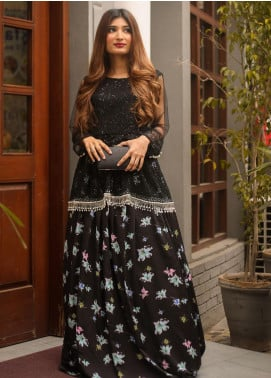 Sidra Mumtaz Fancy Georgette Stitched Skirt Lilium Black