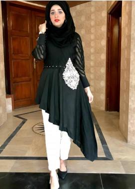 Sidra Mumtaz Fancy Cotton Silk Stitched 2 Piece Suit Sand Stone Black
