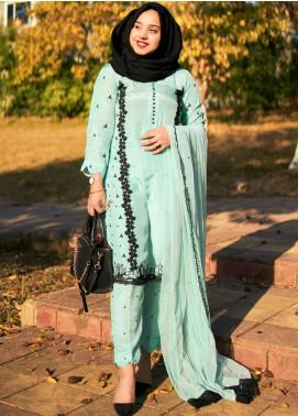 Sidra Mumtaz Embroidered Raw Silk Stitched 3 Piece Suit SM20PB 04 Bubble Craze- Turquoise