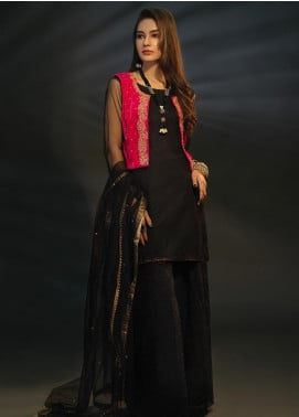 Sidra Mumtaz Embroidered Net Stitched 3 Piece Suit GARNET BLACK AND HOT PINK