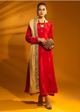 Sidra Mumtaz Embroidered Raw Silk Stitched 3 Piece Suit RUBY  BLOOD RED