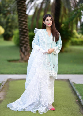 Sidra Mumtaz Embroidered Cotton Silk Stitched 3 Piece Suit APRIL BREEZE
