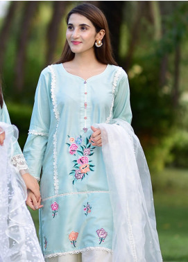 Sidra Mumtaz Embroidered Cotton Silk Stitched 3 Piece Suit MINT BREEZE