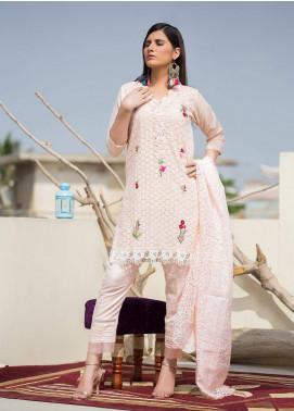 Sidra Mumtaz Embroidered Schiffli Stitched 3 Piece Suit OMBRE BLUSH