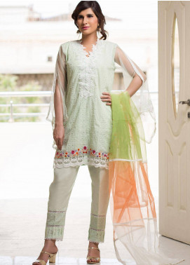 Sidra Mumtaz Embroidered Schiffli Stitched 3 Piece Suit PEPPERMINT