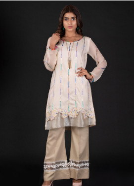 Sidra Mumtaz Embroidered Cotton Silk Stitched 2 Piece Suit 4A PUZZLE