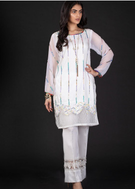 Sidra Mumtaz Embroidered Cotton Silk Stitched 2 Piece Suit 4B PUZZLE