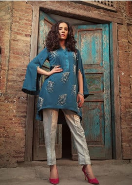 Sidra Mumtaz Embroidered Georgette Stitched 2 Piece Suit BLUE BERRY BUCKLE