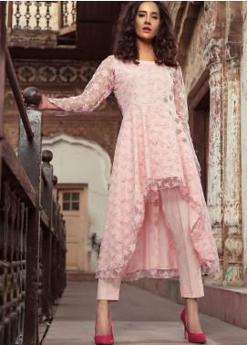 Sidra Mumtaz Embroidered Zari Net Stitched 2 Piece Suit MASCARPONE CREAM