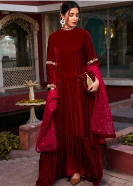 Sidra Mumtaz Embroidered Velvet Stitched 2 Piece Suit SM20GS 2101-GM-01 JASPER