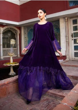 Sidra Mumtaz Embroidered Velvet Stitched 2 Piece Suit SM20GS 2101-GM-09 CHAROITE
