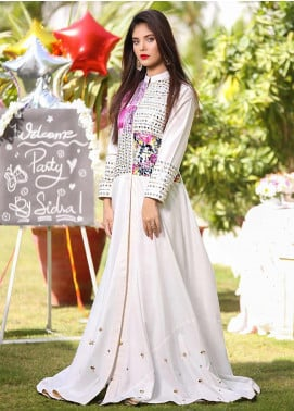 Sidra Mumtaz Embroidered Cotton Silk Stitched 3 Piece Suit Snow