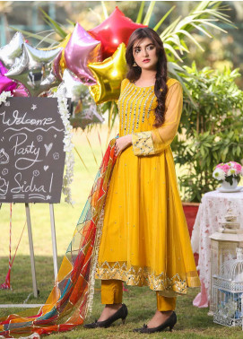 Sidra Mumtaz Embroidered Net Stitched 3 Piece Suit Sunflower