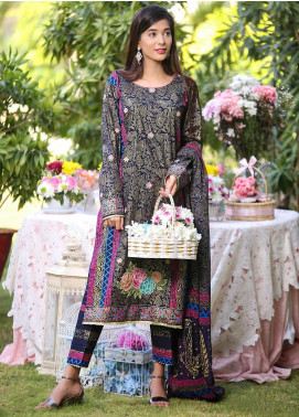 Sidra Mumtaz Embroidered Lawn Stitched 3 Piece Suit Badeea