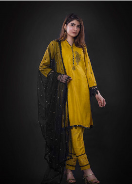 Sidra Mumtaz Embroidered Cotton Silk Stitched 3 Piece Suit BUMBLE BEE