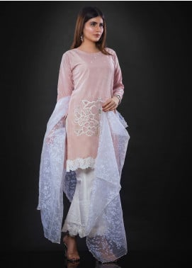 Sidra Mumtaz Embroidered Cotton Silk Stitched 3 Piece Suit SALMON ROSE