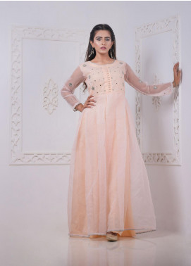 Sidra Mumtaz Embroidered Organza Stitched 3 Piece Suit 2008-EP-02 Eve Peach