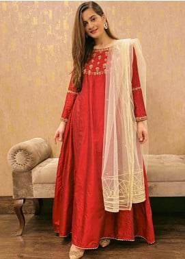 Sidra Mumtaz Embroidered Cotton Silk Stitched 3 Piece Suit POMEGRANATE II