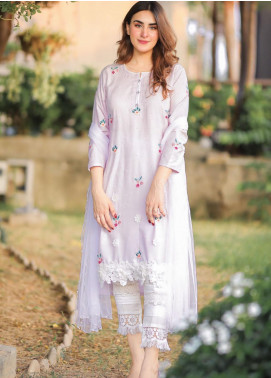 Sidra Mumtaz Embroidered Cotton Silk Stitched 3 Piece Suit LILY LAVENDER