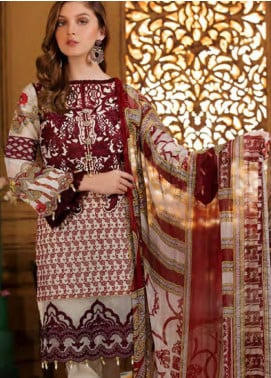 Sifona Embroidered Chikankari Unstitched 3 Piece Suit SFA19CK 06 PERSIAN PLUM - Luxury Collection