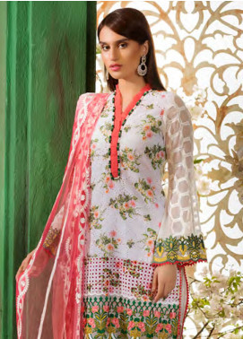 Sifona Embroidered Chikankari Unstitched 3 Piece Suit SFA19CK 07 FLORAISON A CARRARA - Luxury Collection