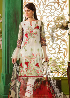 Sifona Embroidered Zari Net Unstitched 3 Piece Suit SFA19CK 10 LILY STARGAZER - Luxury Collection