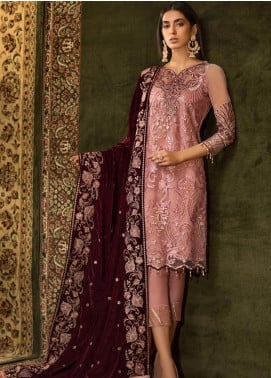 Sifona Embroidered Chiffon Unstitched 3 Piece Suit SF19CV ECV-01 Magnificent Salmon - Winter Collection