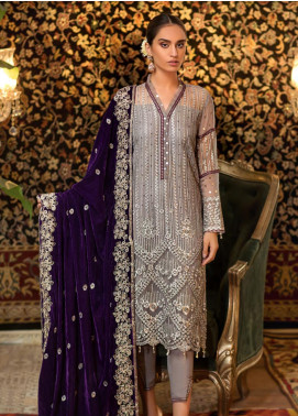 Sifona Embroidered Chiffon Unstitched 3 Piece Suit SF19CV ECV-03 Royal Grey - Winter Collection