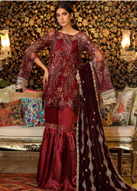 Sifona Embroidered Chiffon Unstitched 3 Piece Suit SF19CV ECV-04 Scarlet Queen - Winter Collection