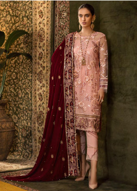 Sifona Embroidered Chiffon Unstitched 3 Piece Suit SF19CV ECV-06 Sovereign Pink - Winter Collection