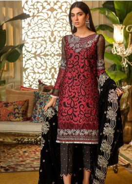 Sifona Embroidered Chiffon Unstitched 3 Piece Suit SF19CV ECV-08 Black Pleasures - Winter Collection