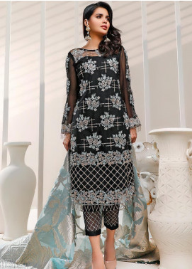 Sifona Embroidered Net Unstitched 3 Piece Suit SF20N 06 OPULENT BLACK - Luxury Collection