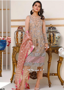 Sifona Embroidered Net Unstitched 3 Piece Suit SF20N 07 ROSE DUST - Luxury Collection