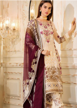 Sifona Elmas Embroidered Chiffon Unstitched 3 Piece Suit SFE19C 03 ALABASTER - Luxury Collection