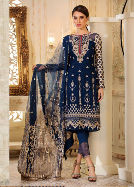 Sifona Elmas Embroidered Chiffon Unstitched 3 Piece Suit SFE19C 08 LAPIS LAZULI - Luxury Collection
