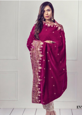 Sifona Embroidered Velvet  Shawl SF19SH 03 - Winter Collection