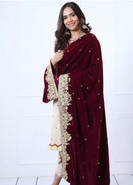 Sifona Embroidered Velvet Shawl SF19SH 05 - Winter Collection