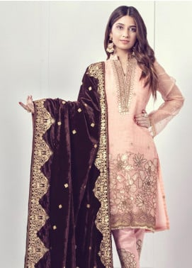 Sifona Embroidered Velvet  Shawl SF19SH 07 - Winter Collection