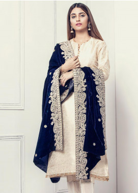 Sifona Embroidered Velvet  Shawl SF19SH 08 - Winter Collection