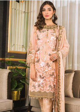 Sifona Embroidered Chiffon Unstitched 3 Piece Suit SFE19LC 01 Eunry Floral - Luxury Collection